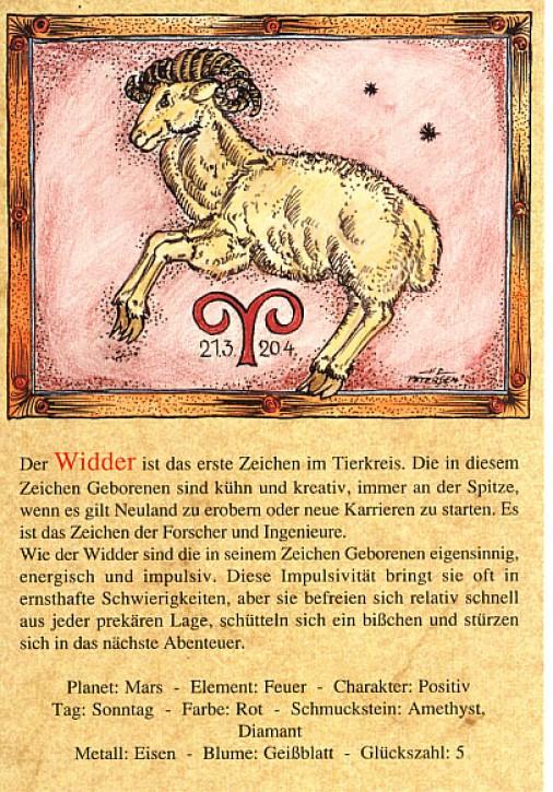 Sternzeichen-Postkarten Widder 01