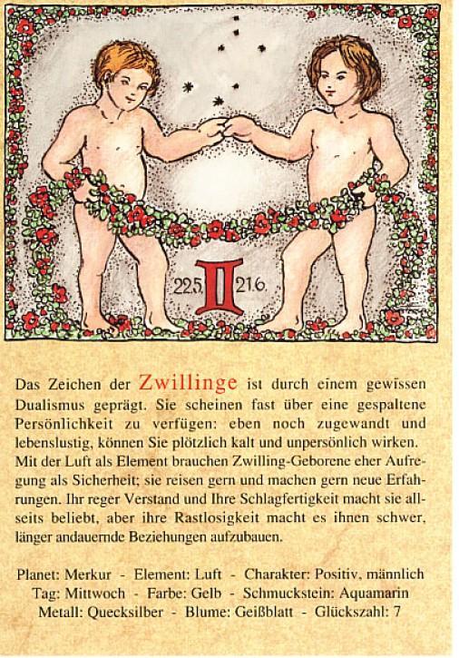 Sternzeichen-Postkarten Zwilling 03