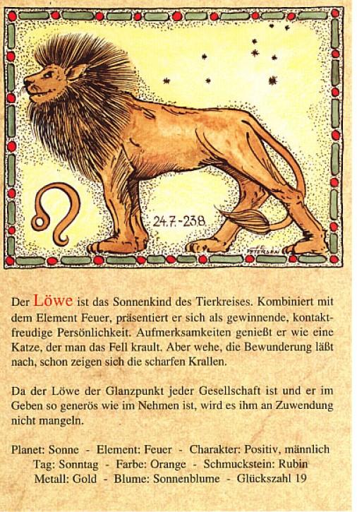 Sternzeichen-Postkarten Löwe 05