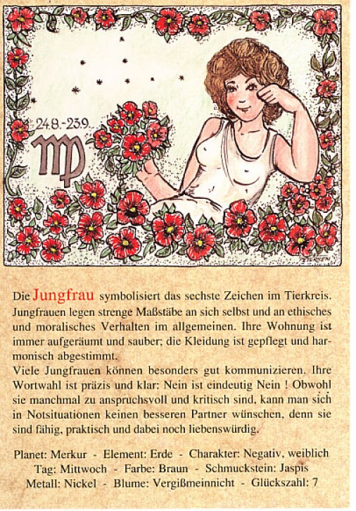 Sternzeichen-Postkarten Jungfrau 06