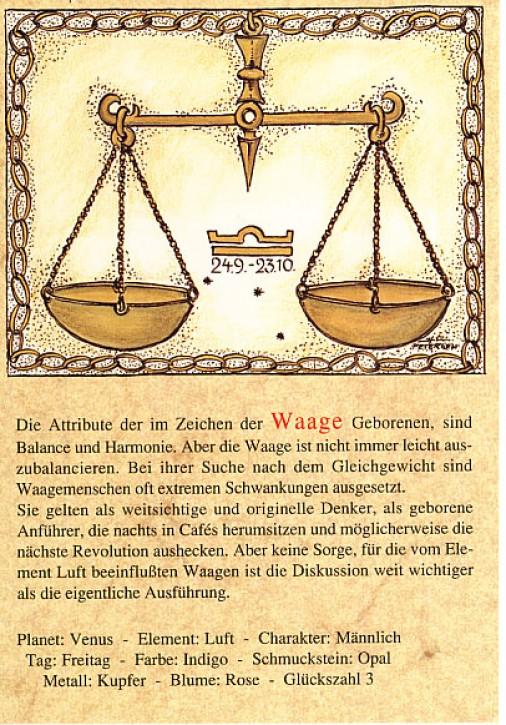 Sternzeichen-Postkarten Waage 07