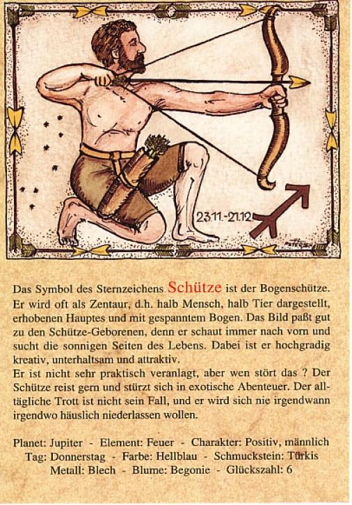 Sternzeichen-Postkarten Schütze 09