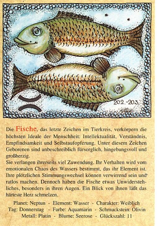 Sternzeichen-Postkarten Fische 12